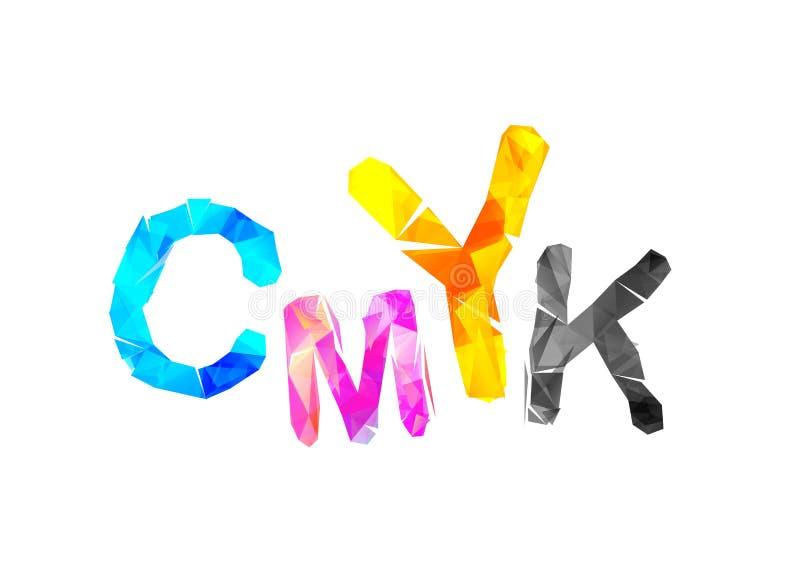 Abreviatura de CMYK Inscripción triangular del vector stock de ilustración