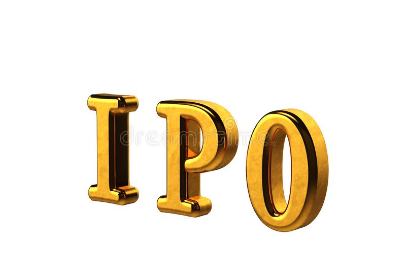 Abreviatura de oro conceptual de IPO - oferta pública inicial aislada en el fondo blanco sin las sombras 3d rinden ilustración del vector