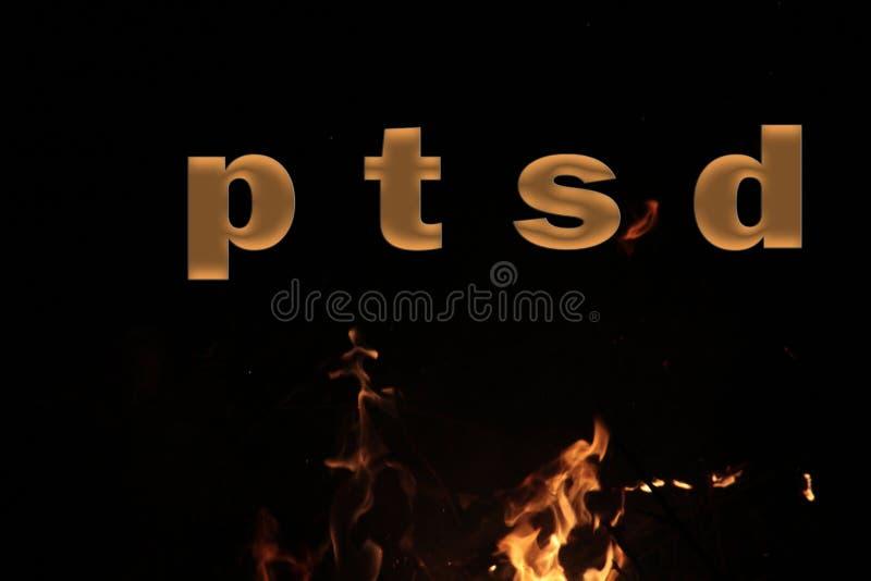 Abreviatura de PTSD o siglas médica del síndrome traumático de la tensión de los posts, trastorno mental causado por eventos trau foto de archivo libre de regalías