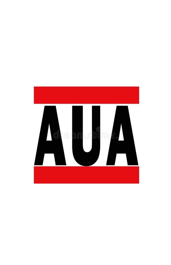 Abreviatura del aeropuerto para la isla de Aruba stock de ilustración