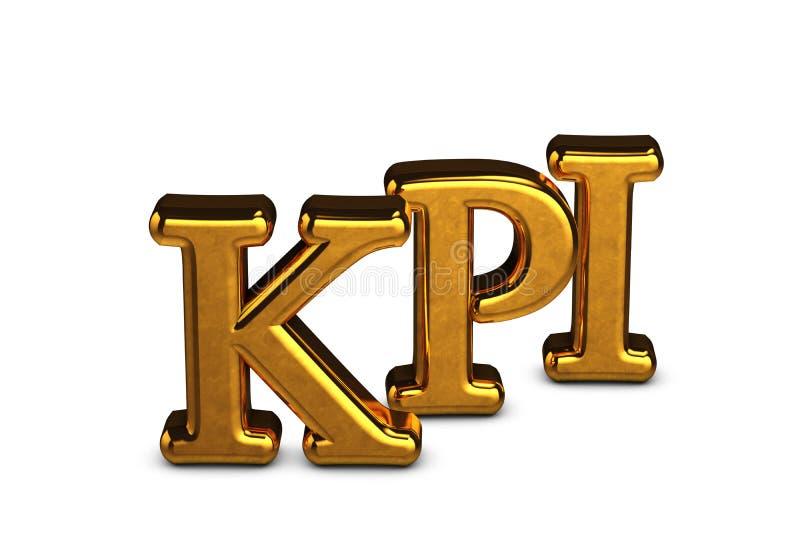 Abreviatura del oro del concepto de KPI - indicador de rendimiento clave aislado en el fondo blanco con las sombras 3d rinden ilustración del vector