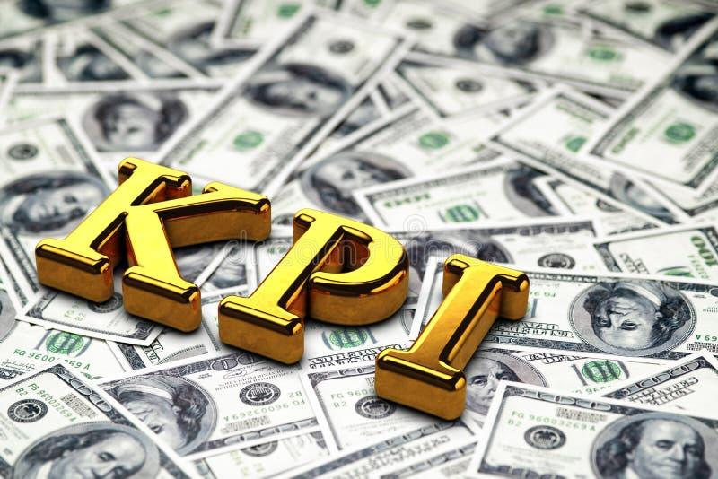 Abreviatura del oro del concepto de KPI - situación del indicador de rendimiento clave o mentira en fondo de los billetes de banc imagen de archivo