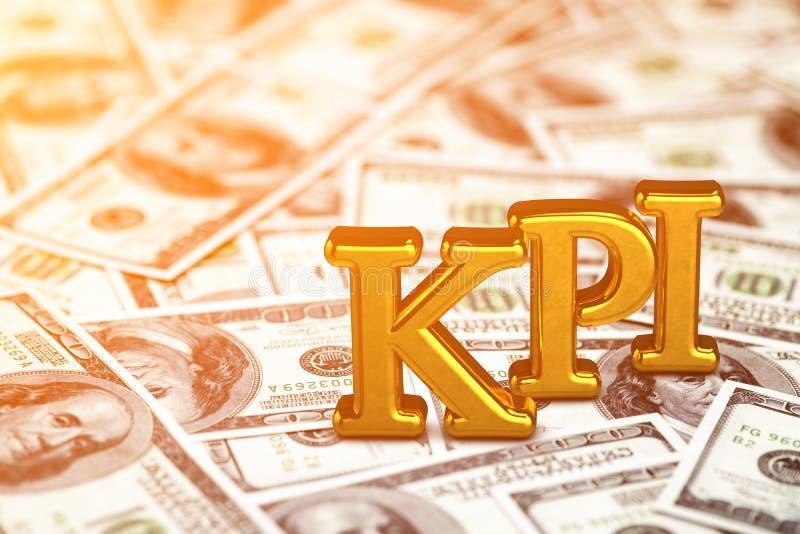 Abreviatura del oro del concepto de KPI - situaci?n del indicador de rendimiento clave o mentira en fondo de los billetes de banc libre illustration