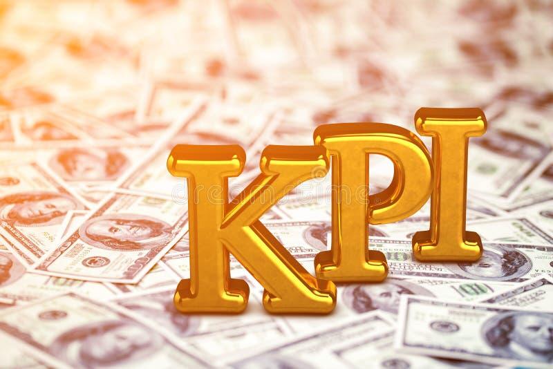 Abreviatura del oro del concepto de KPI - situaci?n del indicador de rendimiento clave o mentira en fondo de los billetes de banc ilustración del vector