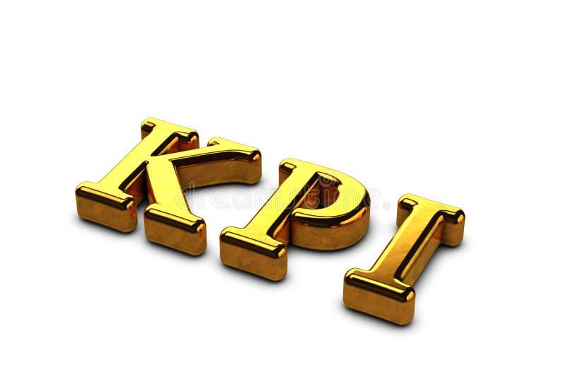 Abreviatura do ouro do conceito de KPI - indicador de desempenho chave isolado no fundo branco com sombras 3d rendem ilustração do vetor