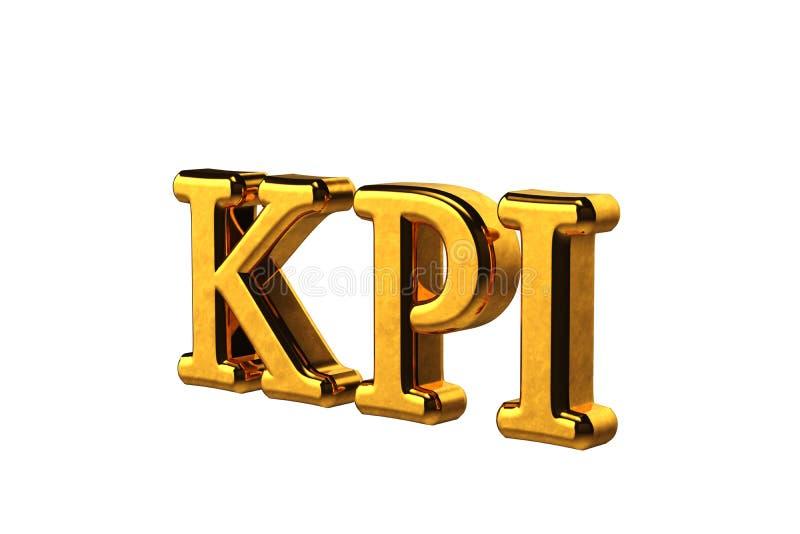 Abreviatura do ouro do conceito de KPI - indicador de desempenho chave isolado no fundo branco sem sombras 3d rendem ilustração royalty free