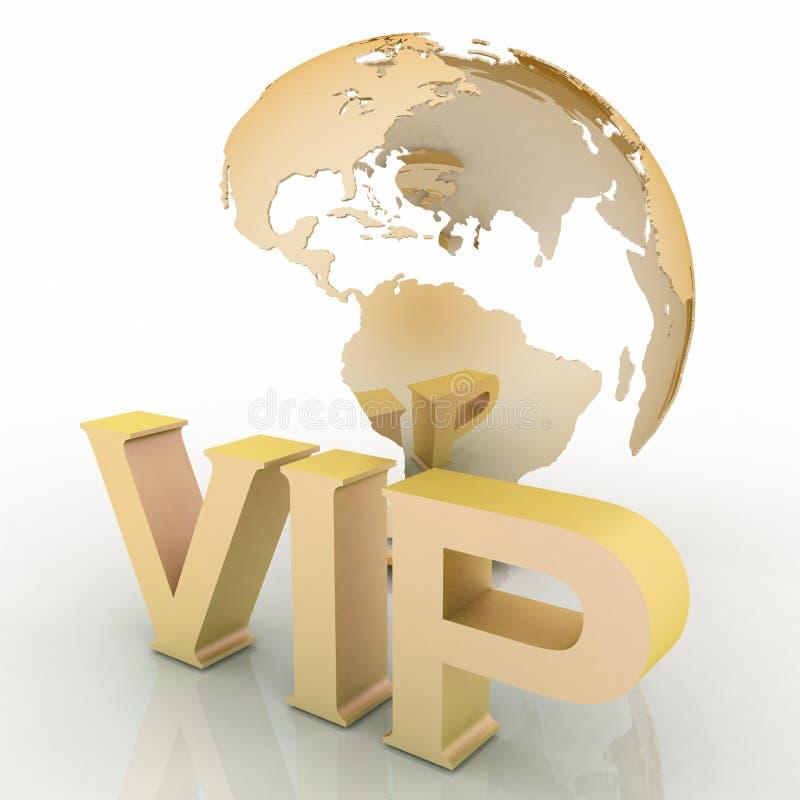 Abreviatura do VIP com um globo ilustração stock