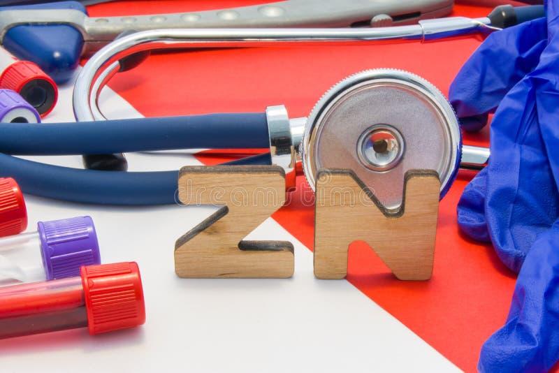 Abreviatura médica del ZN que significa el cinc total en cuerpo o sangre en diagnósticos del laboratorio en fondo rojo El nombre  imagenes de archivo