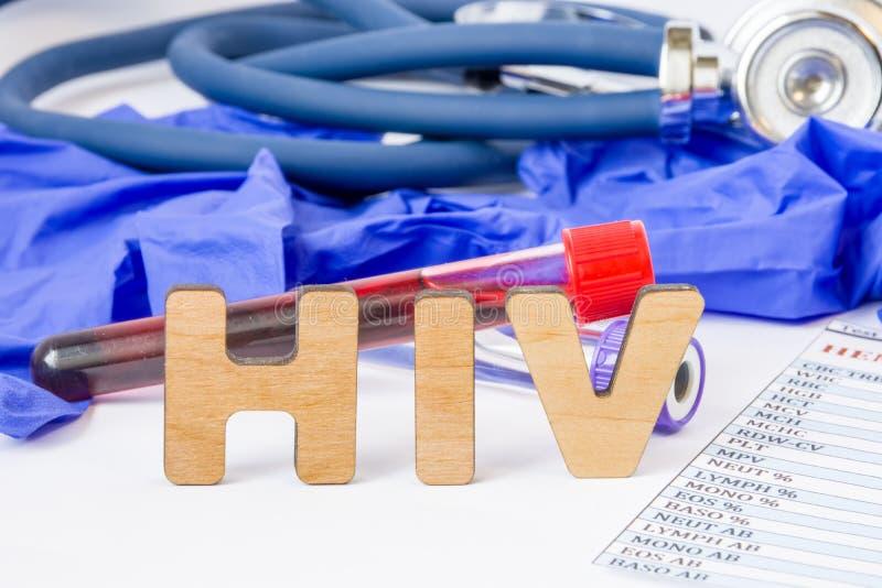 Abreviatura ou acrônimo do VIH para o conceito, a detecção do laboratório ou o diagnóstico médico do vírus de imunodeficiência hu imagem de stock royalty free