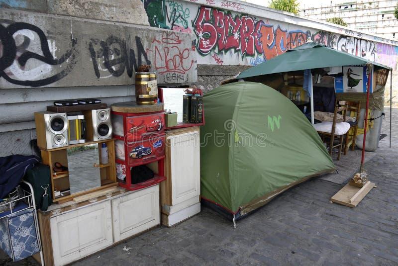 Abri d'un sans abris, France photo stock