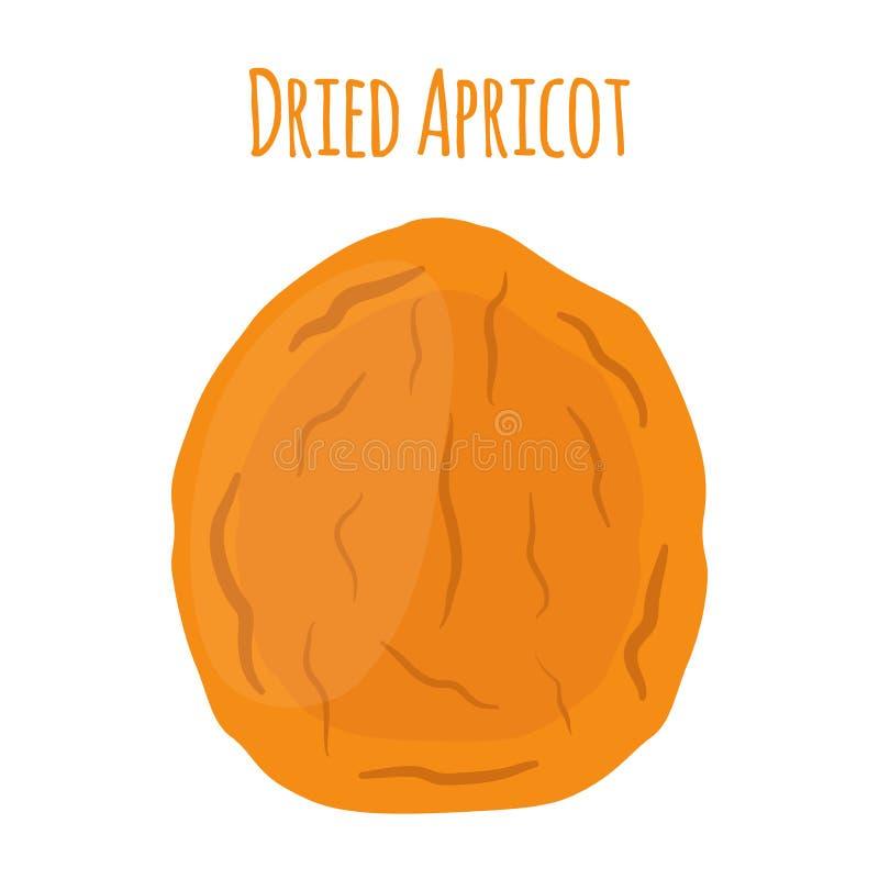 Abricó secado no estilo liso dos desenhos animados, petisco do vegetariano ilustração stock