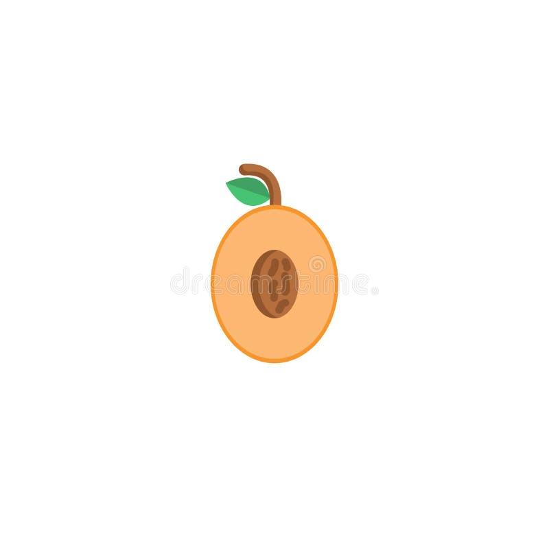 Abricot avec l'icône de feuilles illustration stock