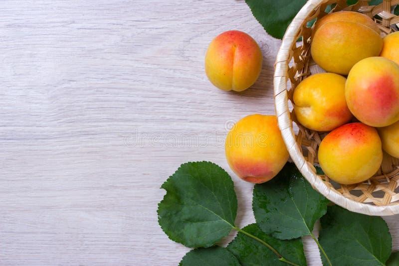 Abricots frais dans le panier sur une table en bois photographie stock libre de droits