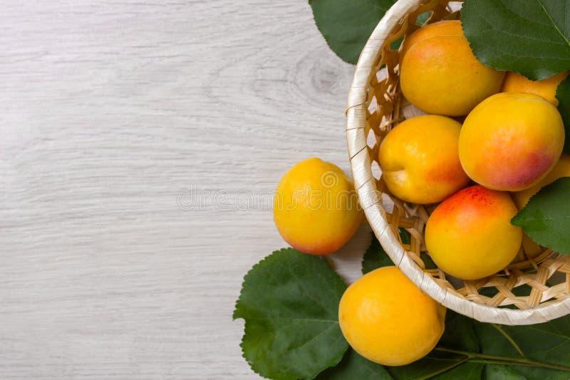 Abricots frais dans le panier sur une table en bois photo libre de droits