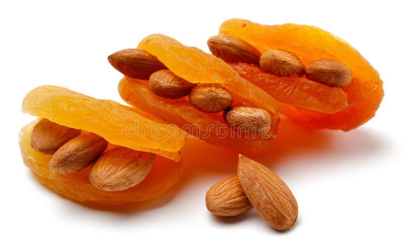 Abricots secs avec des amandes d'isolement photos libres de droits