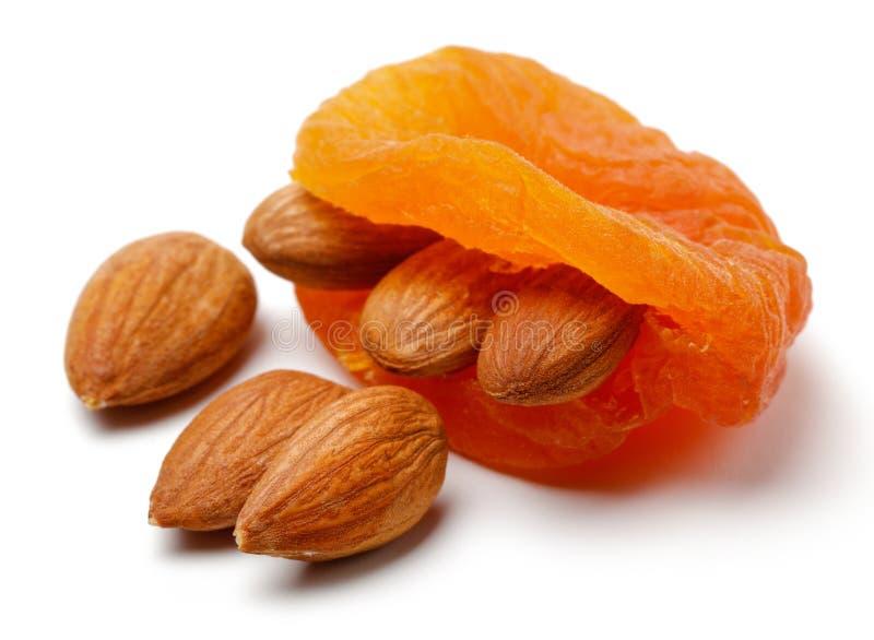 Abricots secs avec des amandes d'isolement image libre de droits