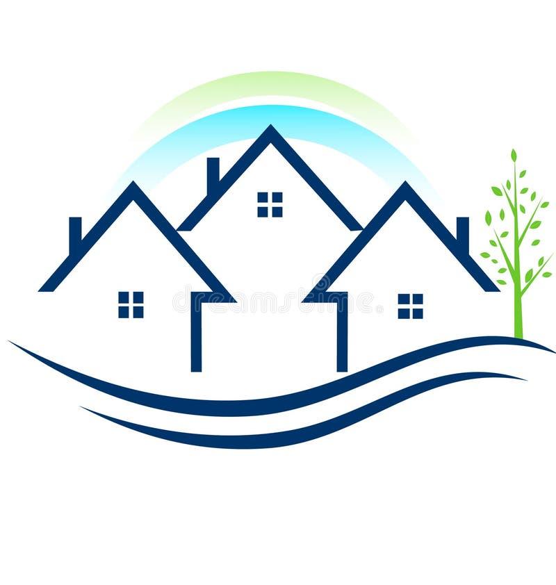 Abriga apartamentos com logotipo da árvore ilustração do vetor