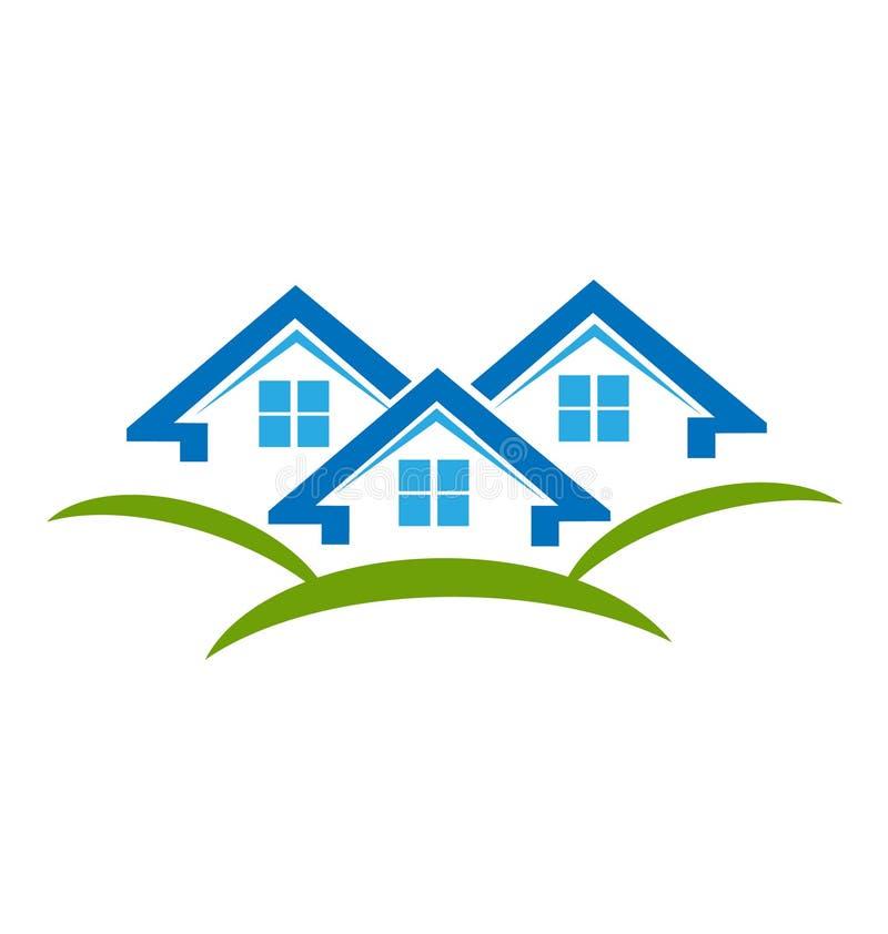 Abriga o logotipo do vetor dos bens imobiliários ilustração do vetor