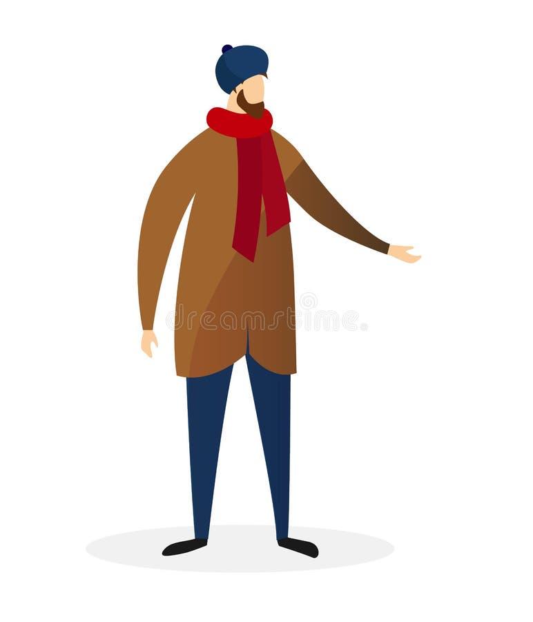 Abrigo de invierno casual moderno barbudo joven del desgaste de hombre ilustración del vector