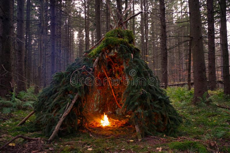 Abrigo primitivo de Bushcraft com fogueira na região selvagem imagem de stock