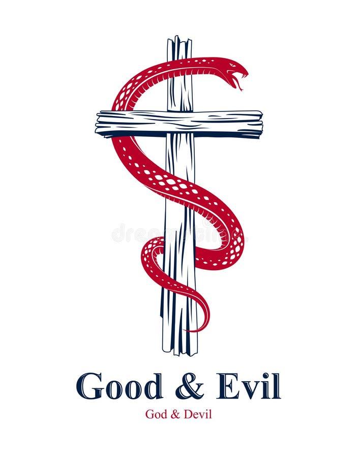 Abrigos de la serpiente alrededor de la cruz cristiana, la lucha entre el bien y el mal, santo y pecador, amor y odio, vida y mue libre illustration