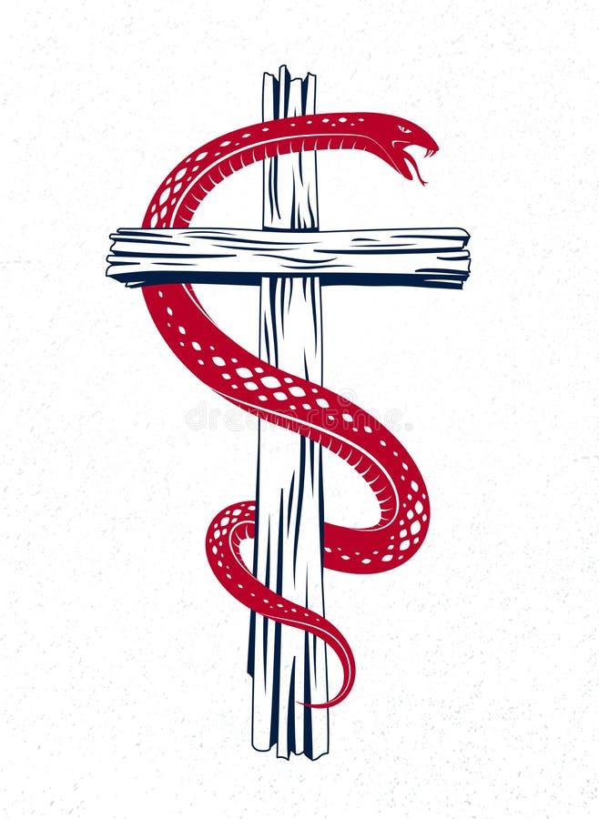 Abrigos de la serpiente alrededor de la cruz cristiana, la lucha entre el bien y el mal, santo y pecador, amor y odio, vida y mue ilustración del vector