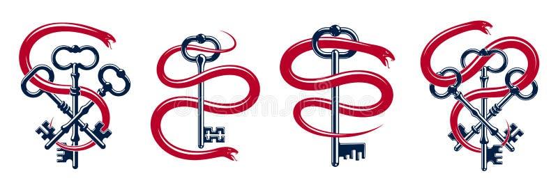 Abrigos de la serpiente alrededor de la llave del vintage, del tatuaje secreto protegido del viejo estilo del concepto, del carce stock de ilustración