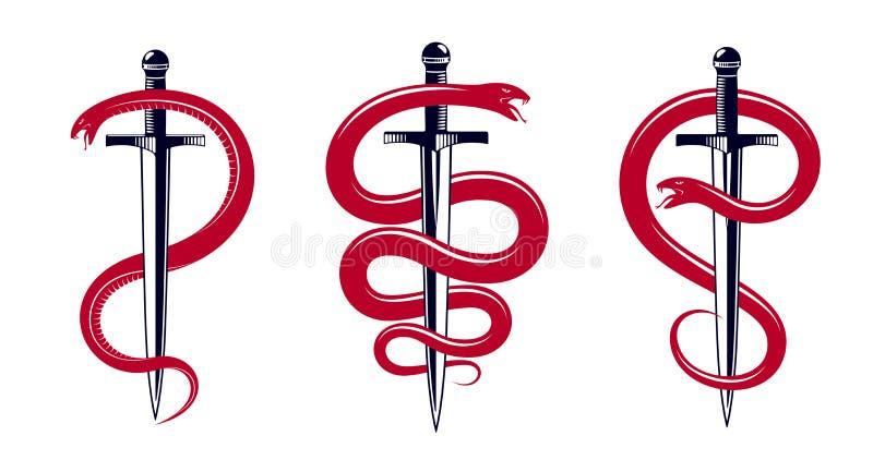 Abrigos de la serpiente y de la daga, de la serpiente alrededor de un tatuaje del vintage del vector de la espada, dios romano Me ilustración del vector
