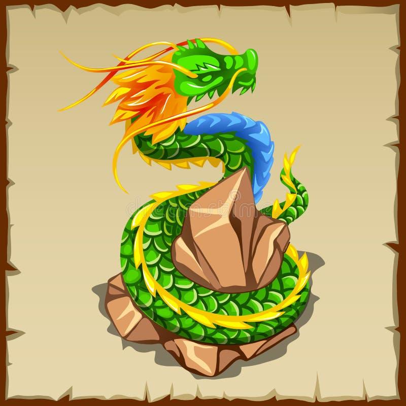 Abrigos del dragón verde alrededor de la piedra stock de ilustración