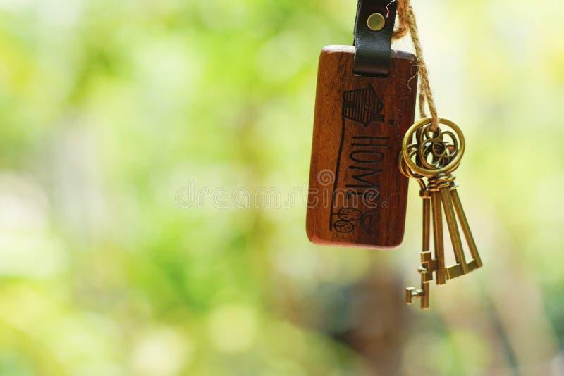 Abrigue a chave com o keyring home no buraco da fechadura com fundo liso do jardim do verde do borrão, conceito da propriedade imagens de stock royalty free