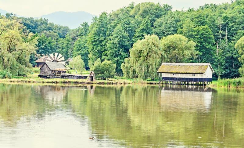 Abrigue a construção na água, telhado da palha, perto do lago e da floresta verde foto de stock royalty free