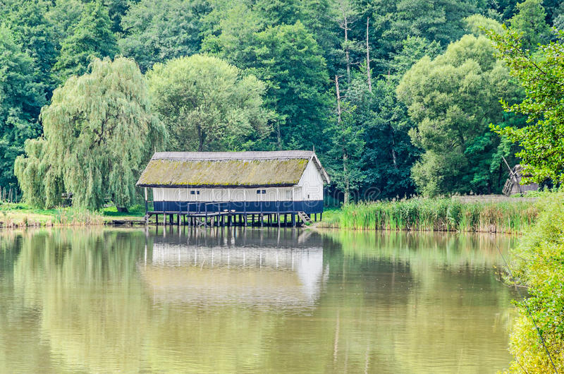 Abrigue a construção na água, telhado da palha, perto do lago e da floresta verde fotografia de stock royalty free