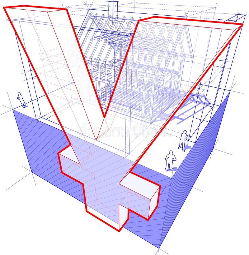 Abrigue a estrutura com diagrama do sinal das dimensões e dos ienes ou do yuan ilustração stock