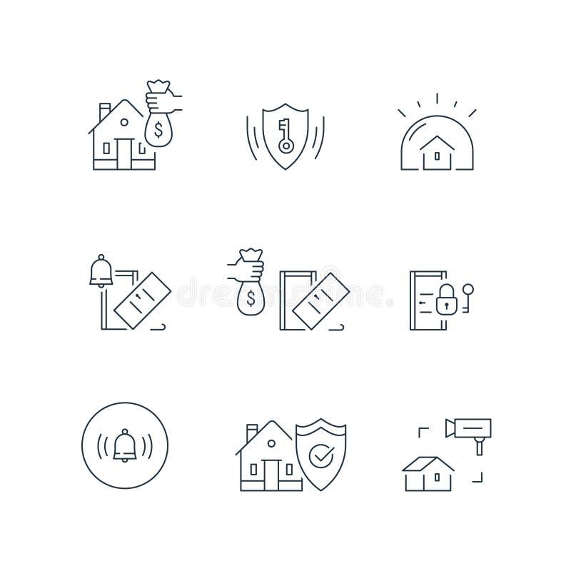 Abrigue a fiscalização da câmara de vídeo, sistema do protetor do alarme, segurança interna, proteção do roubo, ruptura da propri ilustração stock