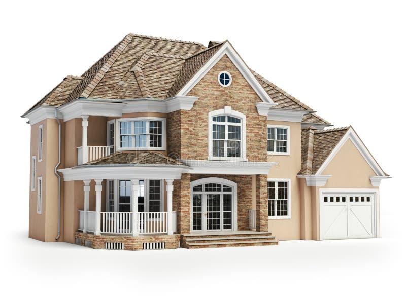 Abrigue isolado no branco Conceito 6 dos bens imobiliários 3d ilustração do vetor