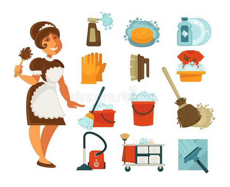 Abrigue a limpeza, a dona de casa ou a empregada doméstica e os ícones limpos home das ferramentas do vetor ilustração royalty free
