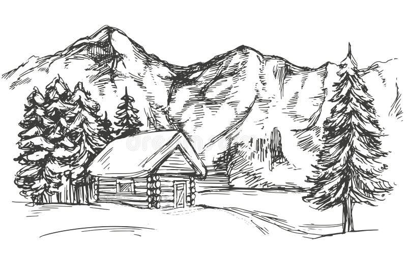 Abrigue na montanha o esboço realístico tirado mão da ilustração do vetor da paisagem da neve ilustração do vetor