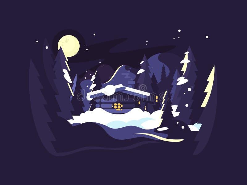 Abrigue no inverno das madeiras ilustração do vetor