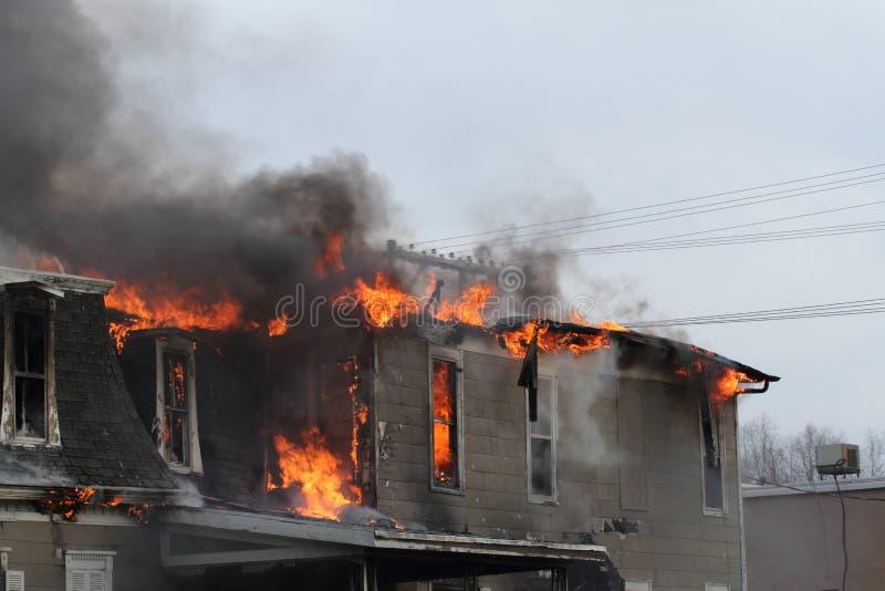 Abrigue o burning, Montezuma, Iowa, acção de graças fotografia de stock royalty free