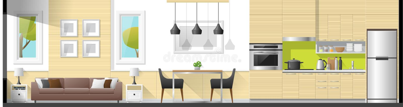 Abrigue o fundo interior do panorama da seção que inclui a sala de visitas, a sala de jantar e a cozinha ilustração do vetor