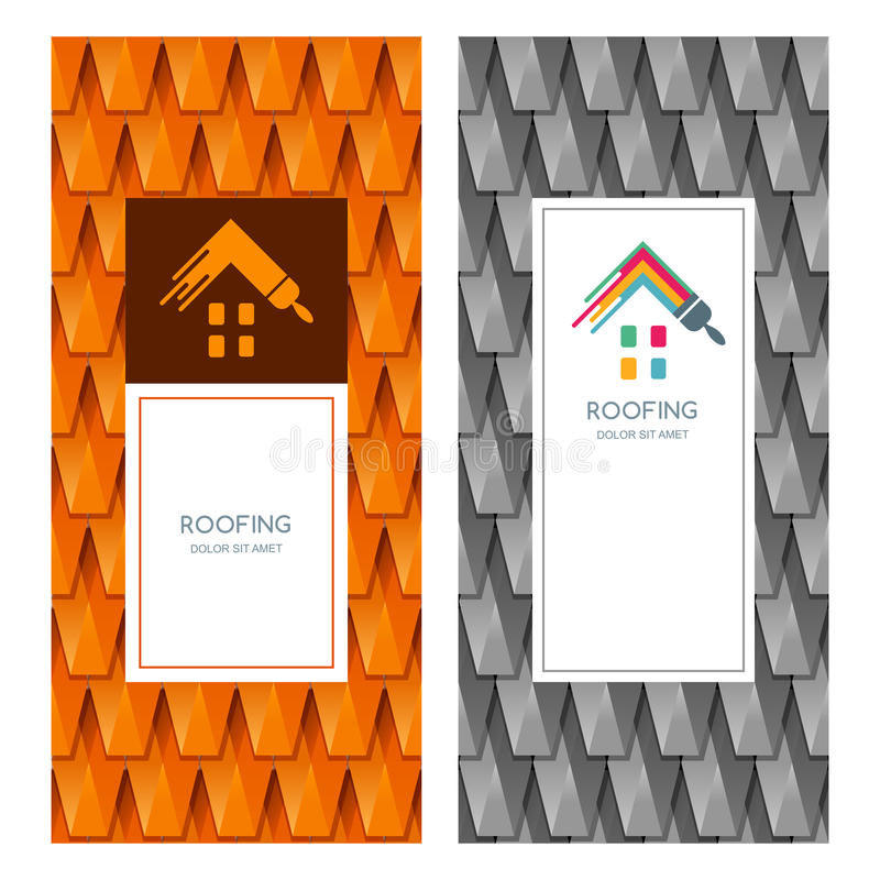 Abrigue o reparo e o logotipo do telhado, etiqueta, elementos do projeto do emblema ilustração royalty free