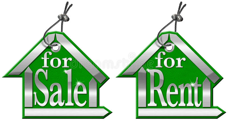 Abrigue o Tag para a venda e para o aluguel - 2 artigos ilustração royalty free