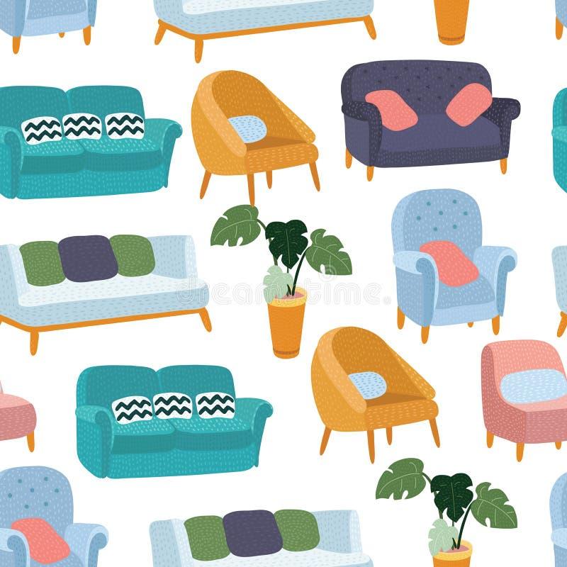 Abrigue o teste padrão da mobília sem emenda, a casa do fundo, a decoração do objeto, o sofá e o interno, ilustração do vetor ilustração stock