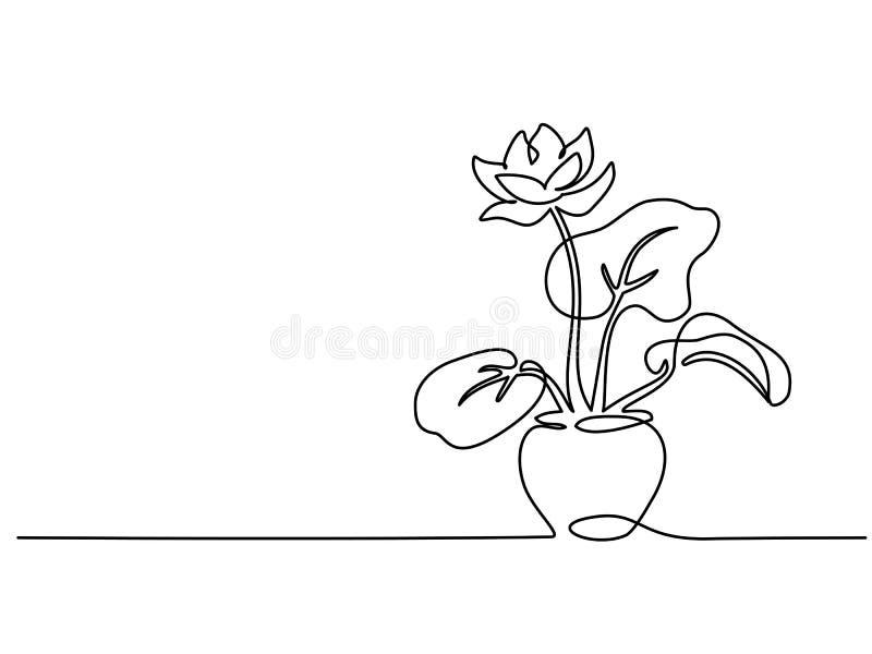 Abrigue a planta a lápis contínuo desenho do potenciômetro no um ilustração do vetor