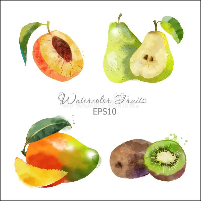 Abrikoos, peer, mango, kiwi stock afbeeldingen