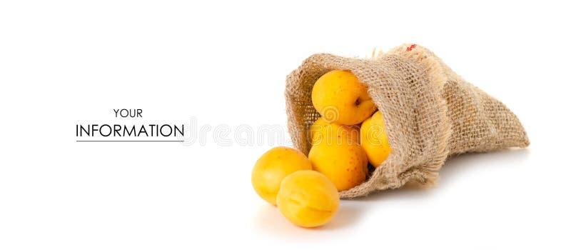 Abrikozen in een patroon van het zak oranje fruit stock foto