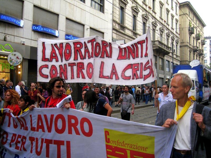 Abril 25, parada do dia da libertação em Milão. Italy, fotografia de stock