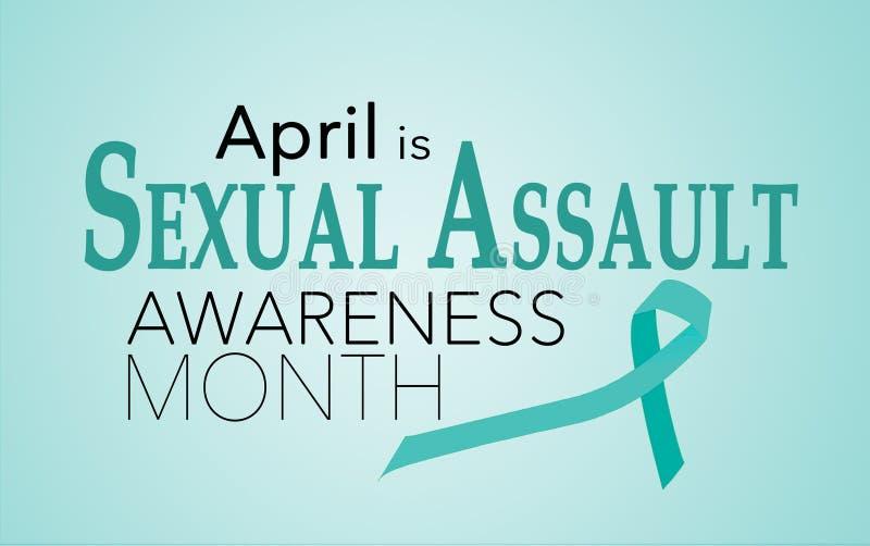 Abril es mes de la conciencia de la agresión sexual stock de ilustración