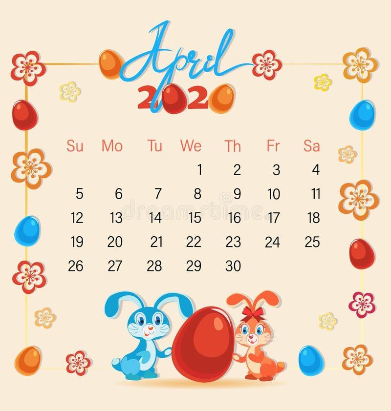 Abril festivo con los conejitos de pascua lindos Calendario 2020 ilustración del vector