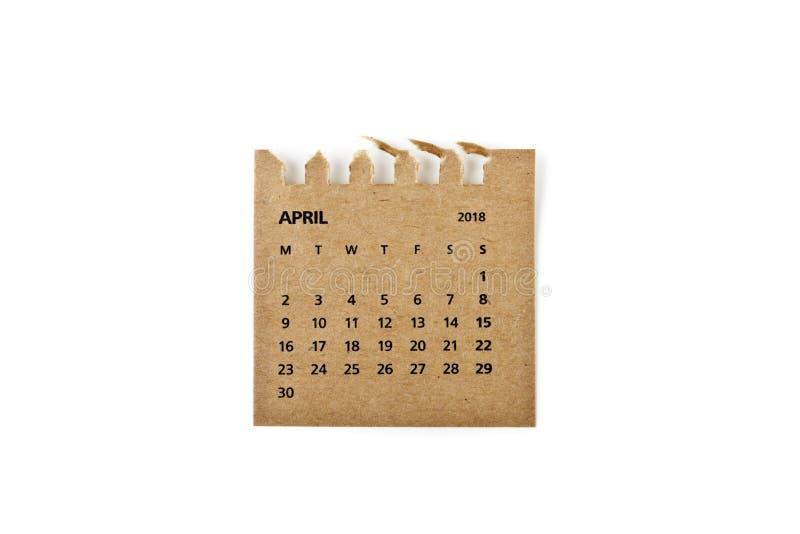 abril Hoja del calendario en blanco fotos de archivo libres de regalías